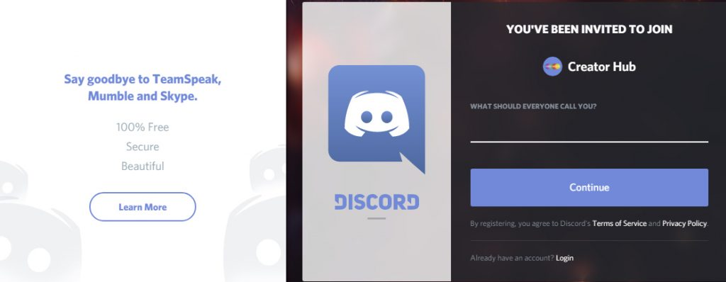 Discord Signup for Creator Hype